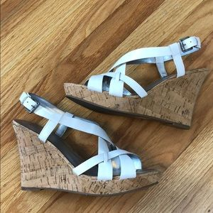 Guess white leather cork wedges - great condition!